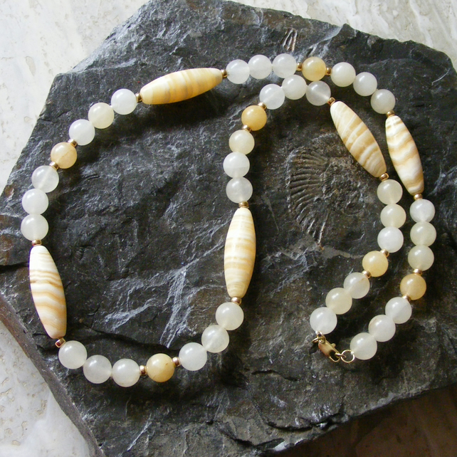 Necklace in Sterling Silver Vermeil With Honey Jade & Calcite.