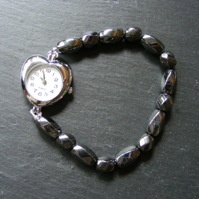 Crackle Haematite Stainless Steel Stretch Bracelet Watch
