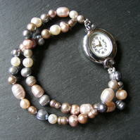 Multi-Strand Coloured Cultured Freshwater Pearl Stretch Bracelet Watch