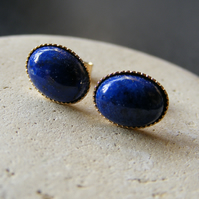 Stud Earrings in 9ct Yellow Gold with Feminine Lapis Lazuli Gemstones