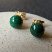 Stud Earrings in 9ct Yellow Gold with Malachite Gemstone Ball Cut Gems