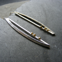 Long Drop Earrings in Sterling Silver Modernist Design with 18K Gold Hall Marked