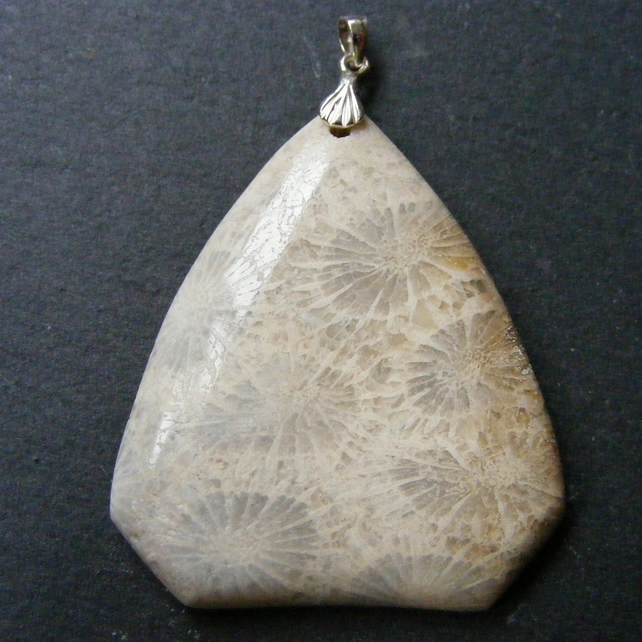 Pendant in Sterling Silver with Fossil Coral Gemstone