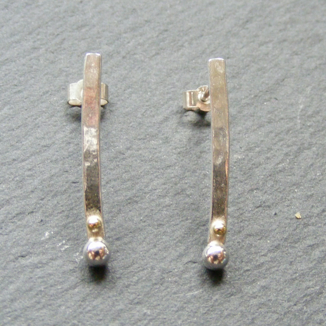Drop Stud Earrings in Sterling Silver Modernist Design with 18K Gold Details