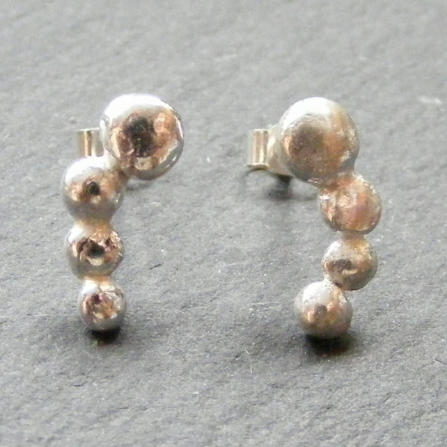 Hand Forged Sterling Silver Nugget or Pebble Stud Earrings 925