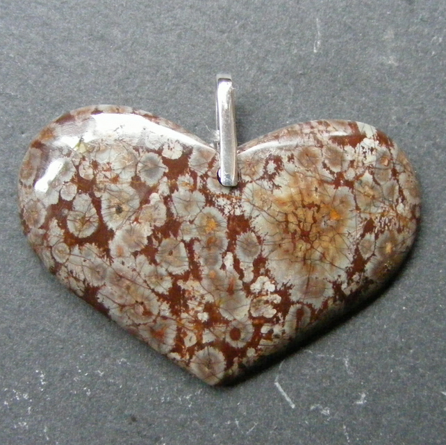 Pendant in Sterling Silver with Unusual Large Jasper Heart Gemstone