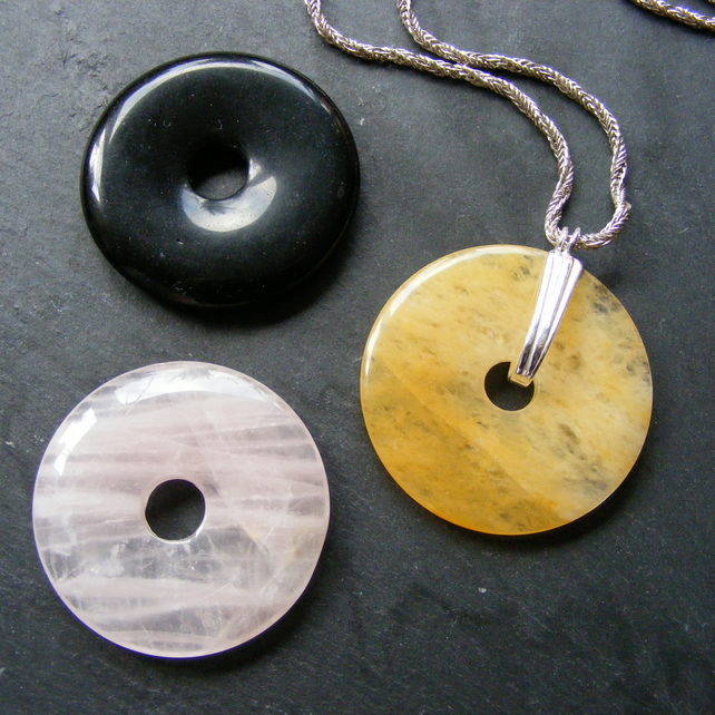 Long Sterling Silver Necklace with Three Donut Pendants - Onyx Jade Rose Quartz