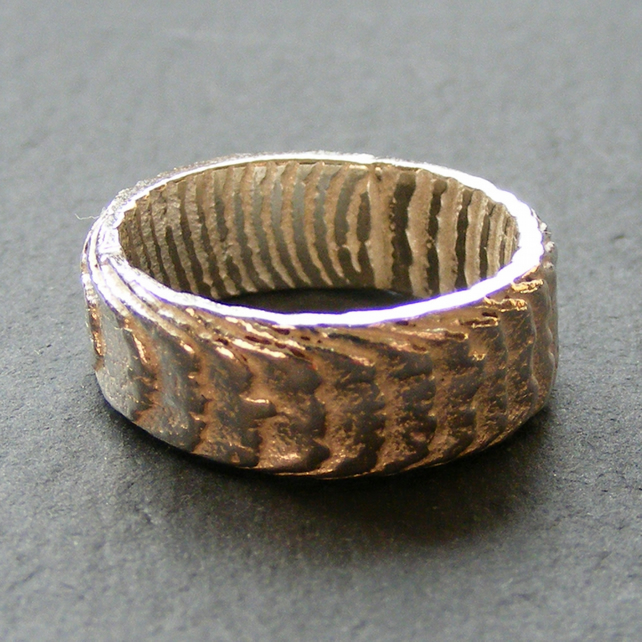 Band Ring in Sterling Silver Cast in Cuttlefish Bone - Fully Hall Marked
