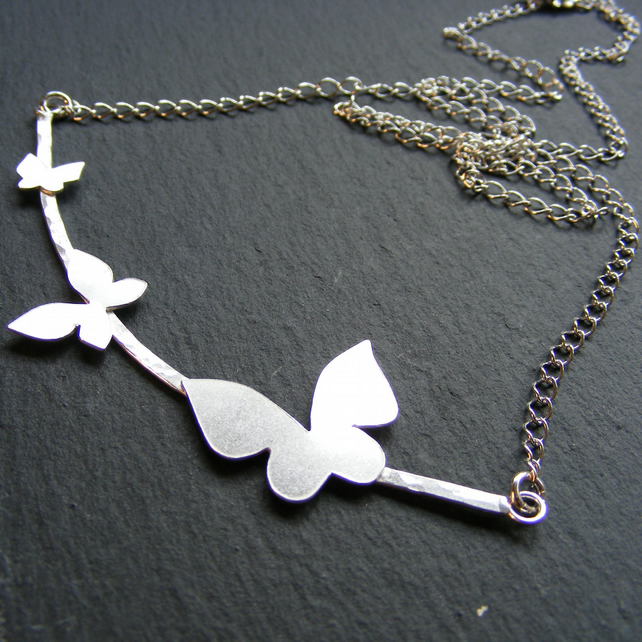 Necklace in Sterling Silver With Hand Cut Butterfly Details - Fully Hall Marked