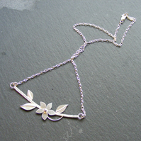 Necklace in Sterling Silver With Hand Forged Flower and Leaf Details Hall Marked