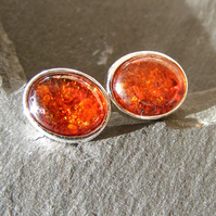 Stud Earrings in Sterling Silver with Natural Amber Cabochon Gemstones