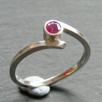 Sterling Silver Cross Over Ring With Natural Ruby Hall Marked Hand Forged UK N
