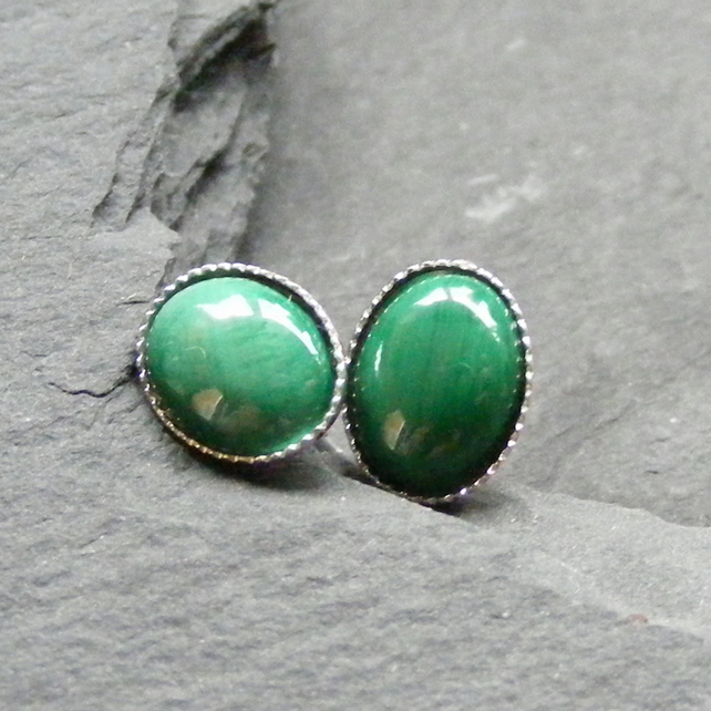Stud Earrings in Sterling Silver with Malachite Gemstones