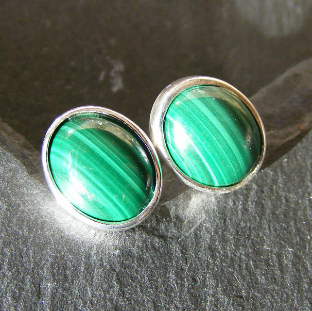 Stud Earrings in Sterling Silver with Natural Malachite Cabochon Gemstones