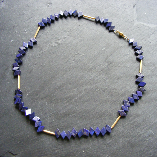 Sterling Silver Vermeil Lapis Lazuli Necklace with Magnetic Clasp