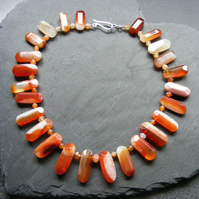 Necklace in Sterling Silver with Carnelian & Sardonyx Gemstones Hall Marked