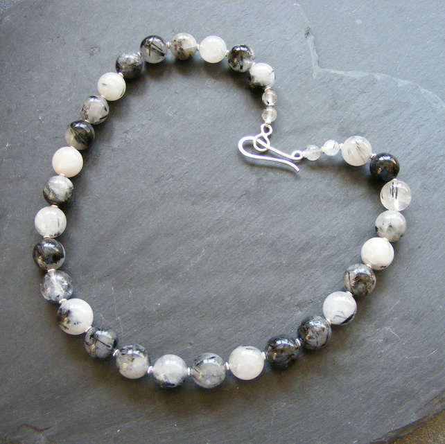 Necklace in Sterling Silver with Chunky Tourmalinated Quartz Gems Hall Marked