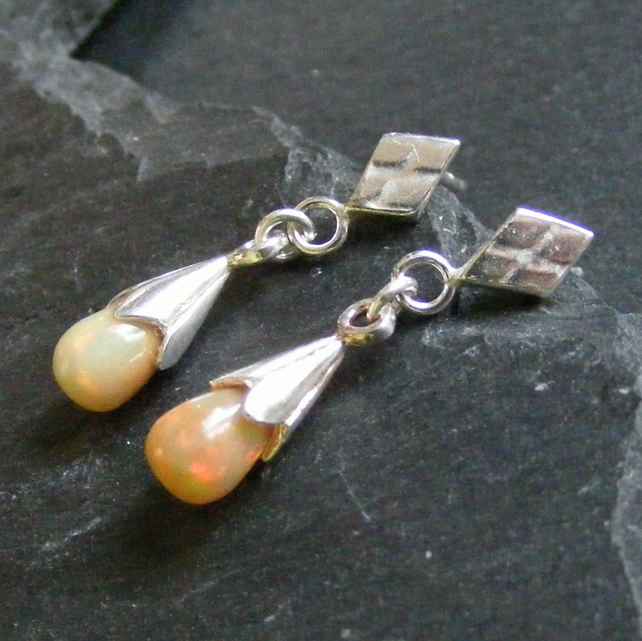 Drop Earrings in Sterling Silver with Natural Opal Gemstones Hall Marked