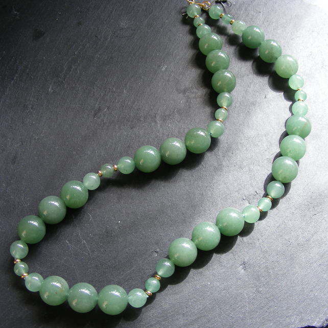 Necklace in Sterling Silver Vermeil with Green Aventurine Gemstones