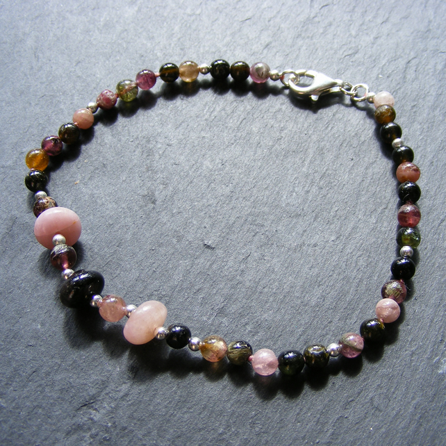 Bracelet in Sterling Silver with Tourmaline Gemstones