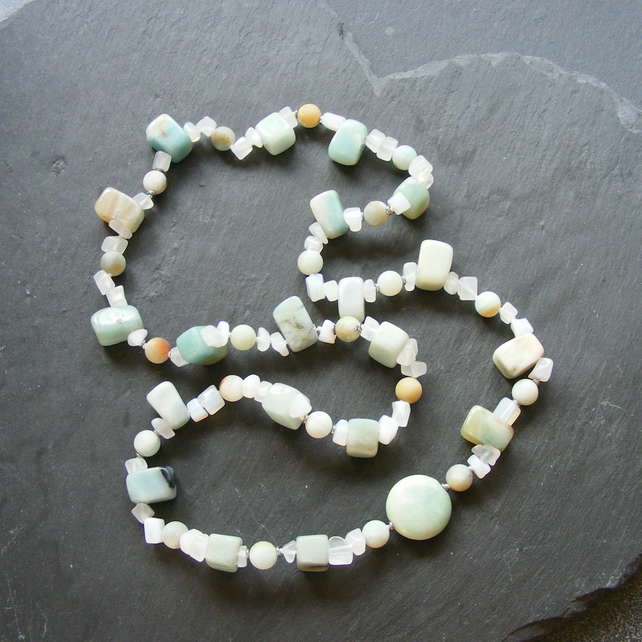 Long Necklace with Amazonite, White Jade and Haematite Gemstones