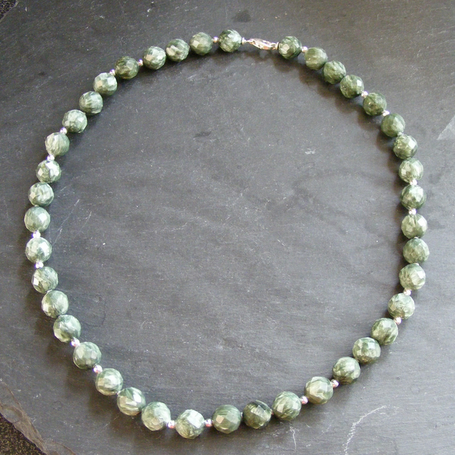 Necklace in Sterling Silver with Faceted Seraphinite Gemstone Beads
