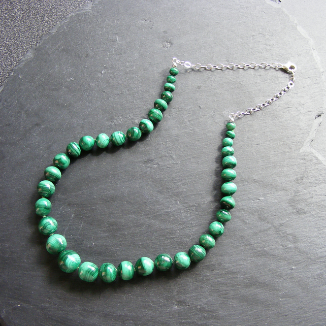 Necklace in Sterling Silver with Vintage Malachite Gemstone Beads