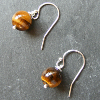 Drop Earrings in Sterling Silver with Tigers Eye Gemstone Beads