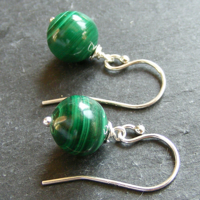Drop Earrings in Sterling Silver with Malachite Gemstone Beads