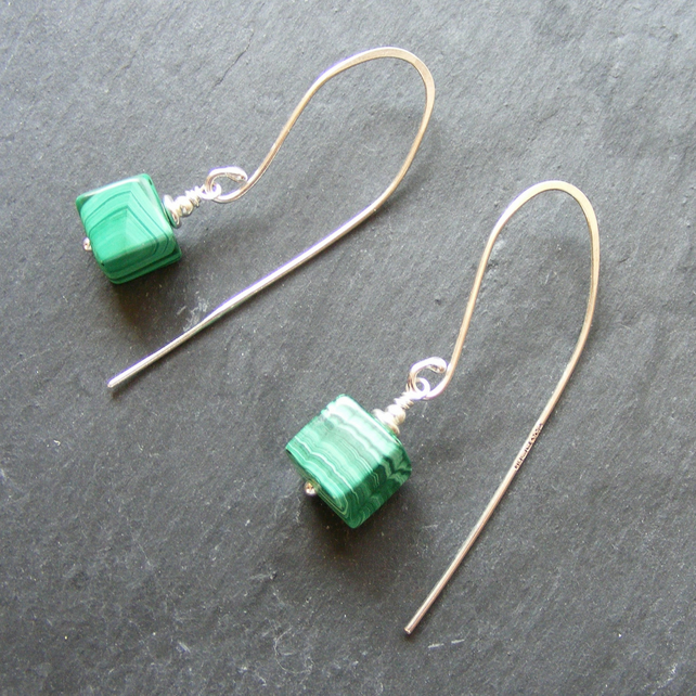 Long Drop Sterling Silver Earrings with Malachite Gemstones Hall Marked