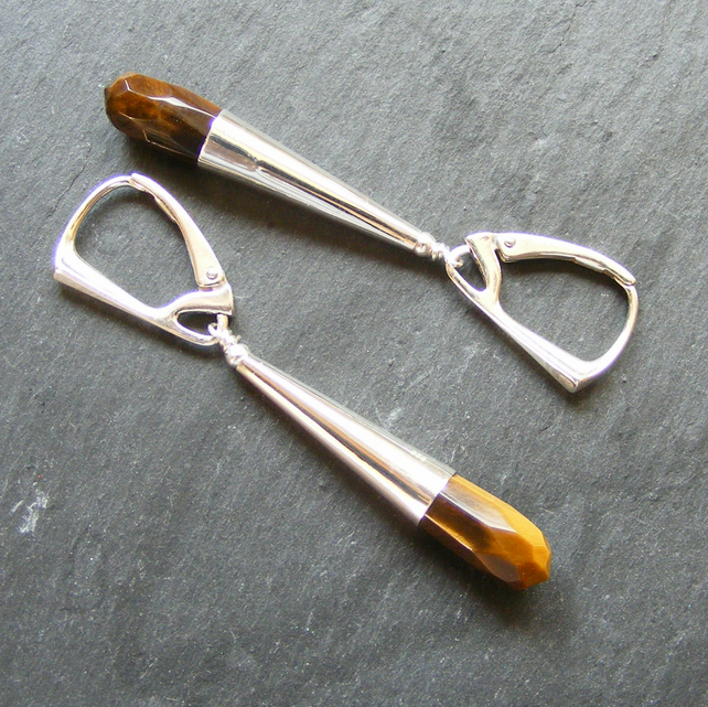 Long Drop Sterling Silver Earrings with Tigers Eye Gemstones Lever Back Fitments