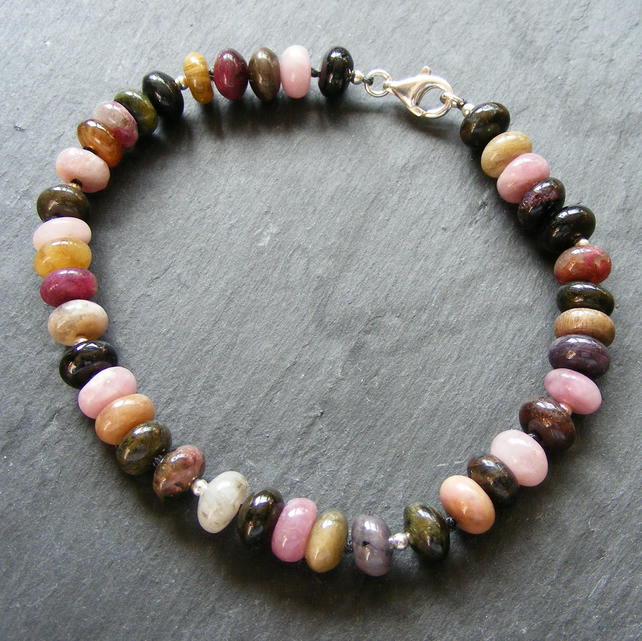 Bracelet in Sterling Silver with Colours of Tourmaline Gemstones - Large Size