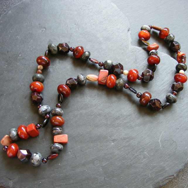 Long Necklace with Labradorite, Jasper, Garnet, Agate & Tigers Eye Gemstones