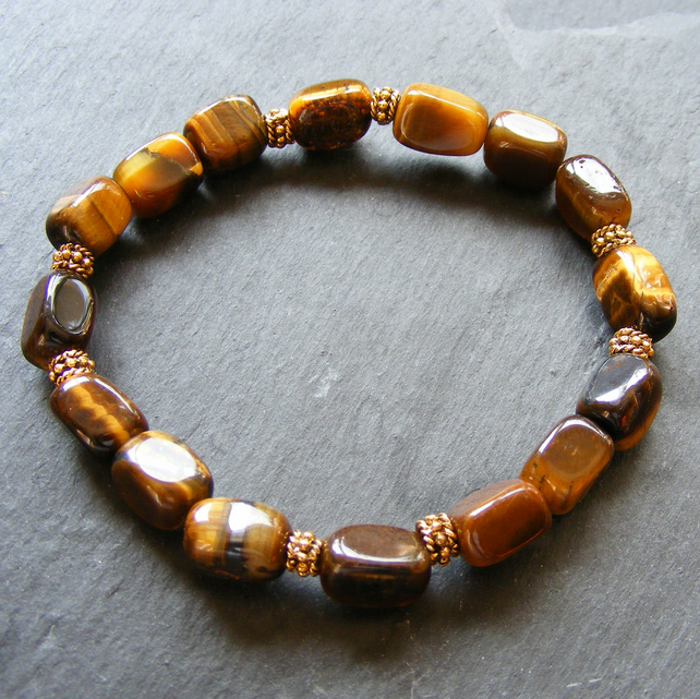 Stretch Bracelet with Tigers Eye Gemstones and Gold Plated Beads