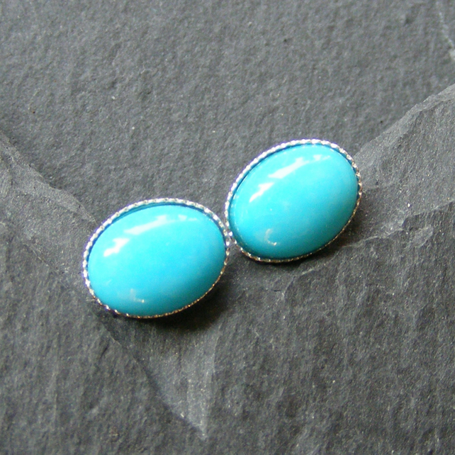 Stud Earrings in Sterling Silver Set with Turquoise Gemstone Cabochons