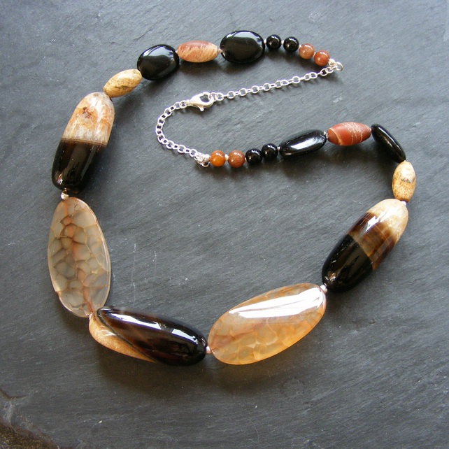 Necklace in Sterling Silver with Agate and Onyx Gemstones in Autumnal Shades