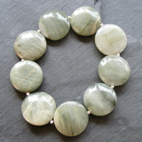 Stretch Bracelet in Sterling Silver with Green Jasper Coin Cut Gemstones