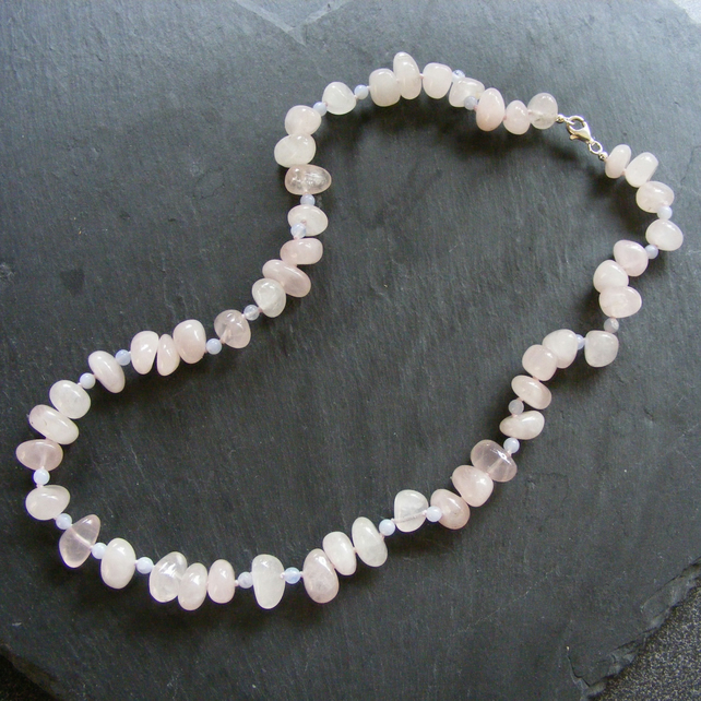 Necklace in Sterling Silver with Rose Quartz Nuggets and Blue Lace Agate Gems