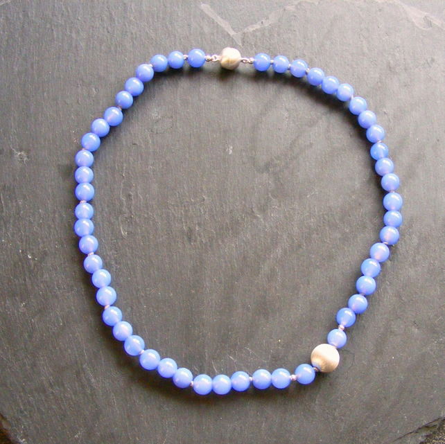 Necklace in Sterling Silver with Blue Jade & Sterling Silver Magnetic Clasp