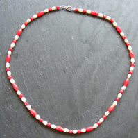 Necklace in Sterling Silver with Coral and Fresh Water Pearls