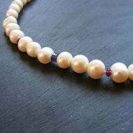 Cultured Fresh Water Pearl Necklace with Iolite & Garnet Gemstones 925 Silver