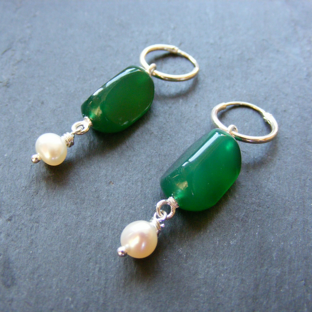 Sterling Silver Long Drop Earrings with Vintage Green Agate Swivel Gems & Pearls