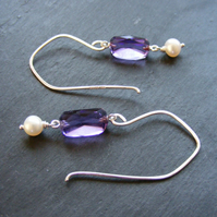 Sterling Silver Long Drop Earrings with Vintage Amethyst Swivel Gems & Pearls