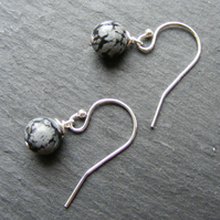 Drop Earrings in Sterling Silver with Snowflake Obsidian Gemstones