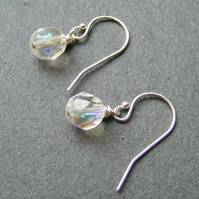 Drop Earrings in Sterling Silver with Vintage AB Crystals