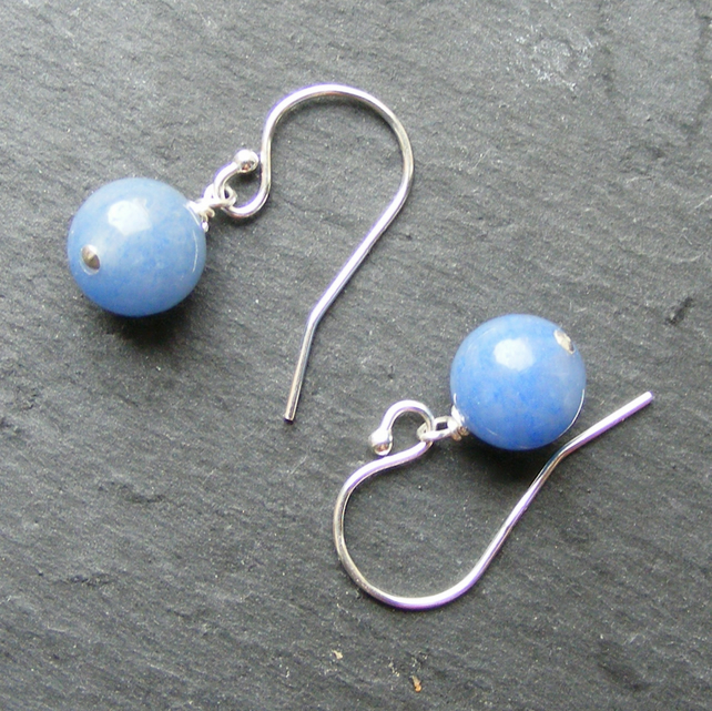 Drop Earrings in Sterling Silver with Blue Aventurine Gemstone Beads