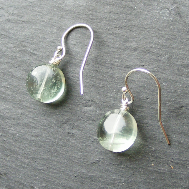 Drop Earrings in Sterling Silver with Natural Green Fluorite Disc Beads