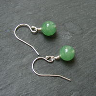Drop Earrings in Sterling Silver with Green Jade Gemstone Beads