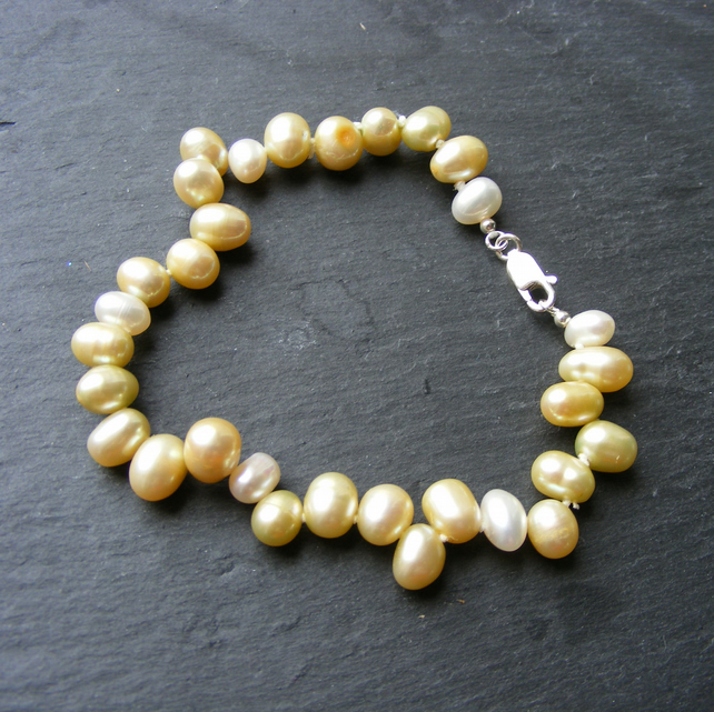 Cultured Fresh Water Golden Yellow and White Pearl Bracelet Sterling Silver 925
