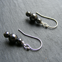 Drop Earrings in Sterling Silver with Haematite Gemstone Beads